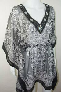 c799f715040 New Sheer Black White Beaded Swimsuit Cover Up Tunic Sz Small ...