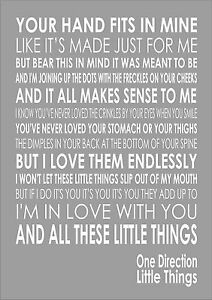 One Direction - Little Things - Word Typography Words Song ...