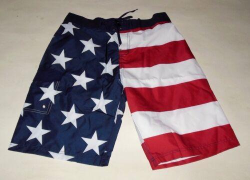 NWT BIOWORLD AMERICAN FLAG FOURTH OF JULY SWIM TRUNK BOARD SHORTS sizes S M L XL