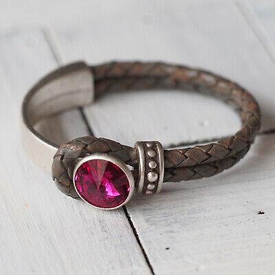 Nuovo Vera Pelle Bracciale Con 14mm Pietra Swarovski Fuxia/rosa Bracciale In Pelle-mostra Il Titolo Originale