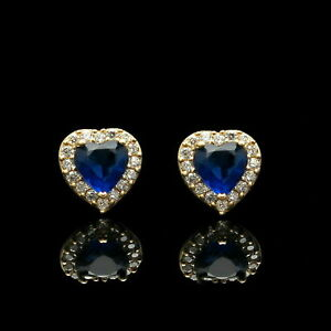 1-1Ct-Heart-Cut-Blue-Sapphire-amp-Diamond-14K-Yellow-Gold-Over-Halo-Studs-Earrings