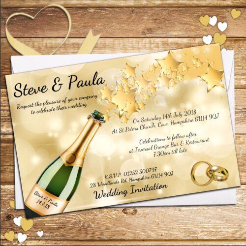 10 Personnalisé or champagne Spray Mariage Soirée Invitations invite N68