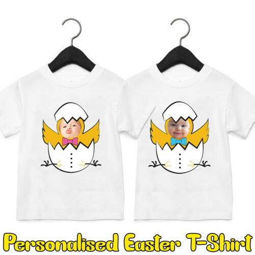 Kids Boys Girls Personalised Your Photo Easter Egg Chicks T-Shirt Childrens Tee