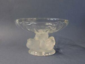 Lalique-Clear-Crystal-Nogent-Bowl-Dish-Signed-Frosted-Birds-Pedestal-91