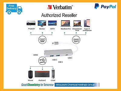 ($0 P&H) Verbatim USB-C 3 1 Multi-Port Hub with 2x USB3 & USB C & HDMI #  65281 | eBay