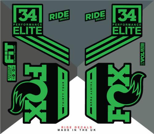 vert DH Fox 34 FACTORY Elite Autocollant Decal Sets-Enduro