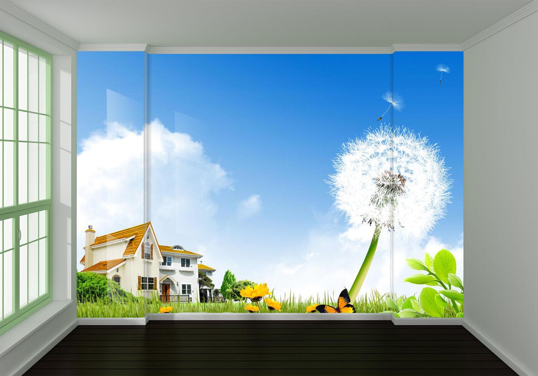 3D Pissenlit Maison.Photo Papier Peint en Autocollant Murale Plafond Chambre Art