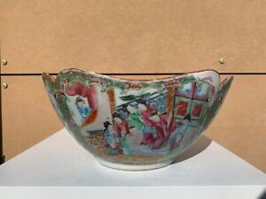 A-19th-c-Antique-Chinese-Canton-Rose-Medallion-LARGE-Punch-Bowl