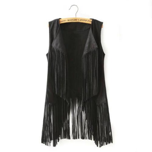 Ladies Fringed Jackets Hippie Women Casual Waistcoat Tassel Vest Tops Oversizes