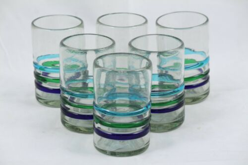Juice Glasses Set of 6 Three Bands of Color Hand Crafted Mexican Glassware