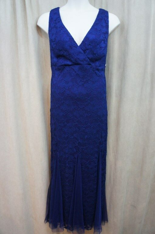 Xscape Dress Woman Sz 20W Navy Blau Lace Sleeveless Long Evening Cocktail Dres