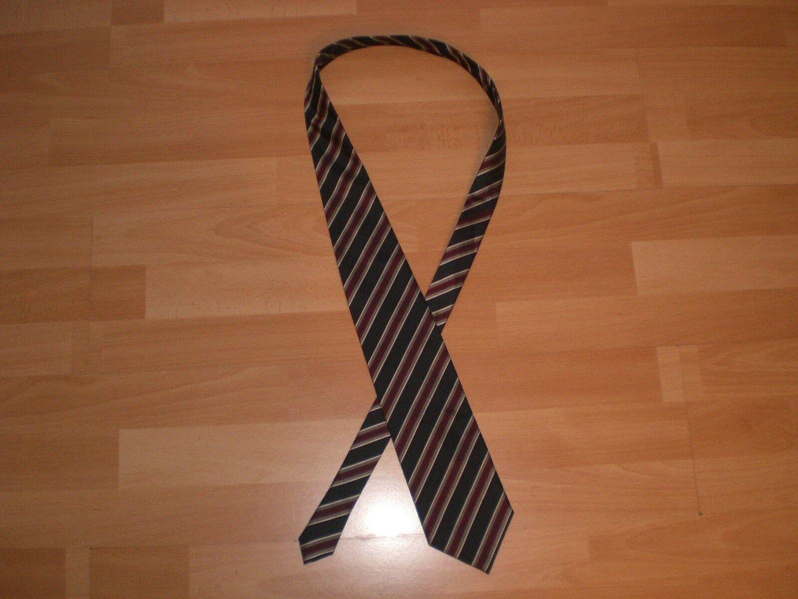 * Boss Mens Tie Silk Blue Red Grey Stripe *
