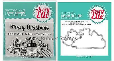 Avery Elle SWEET TIDINGS or CHRISTMAS PACKAGES Clear Stamp Set + Matching Dies