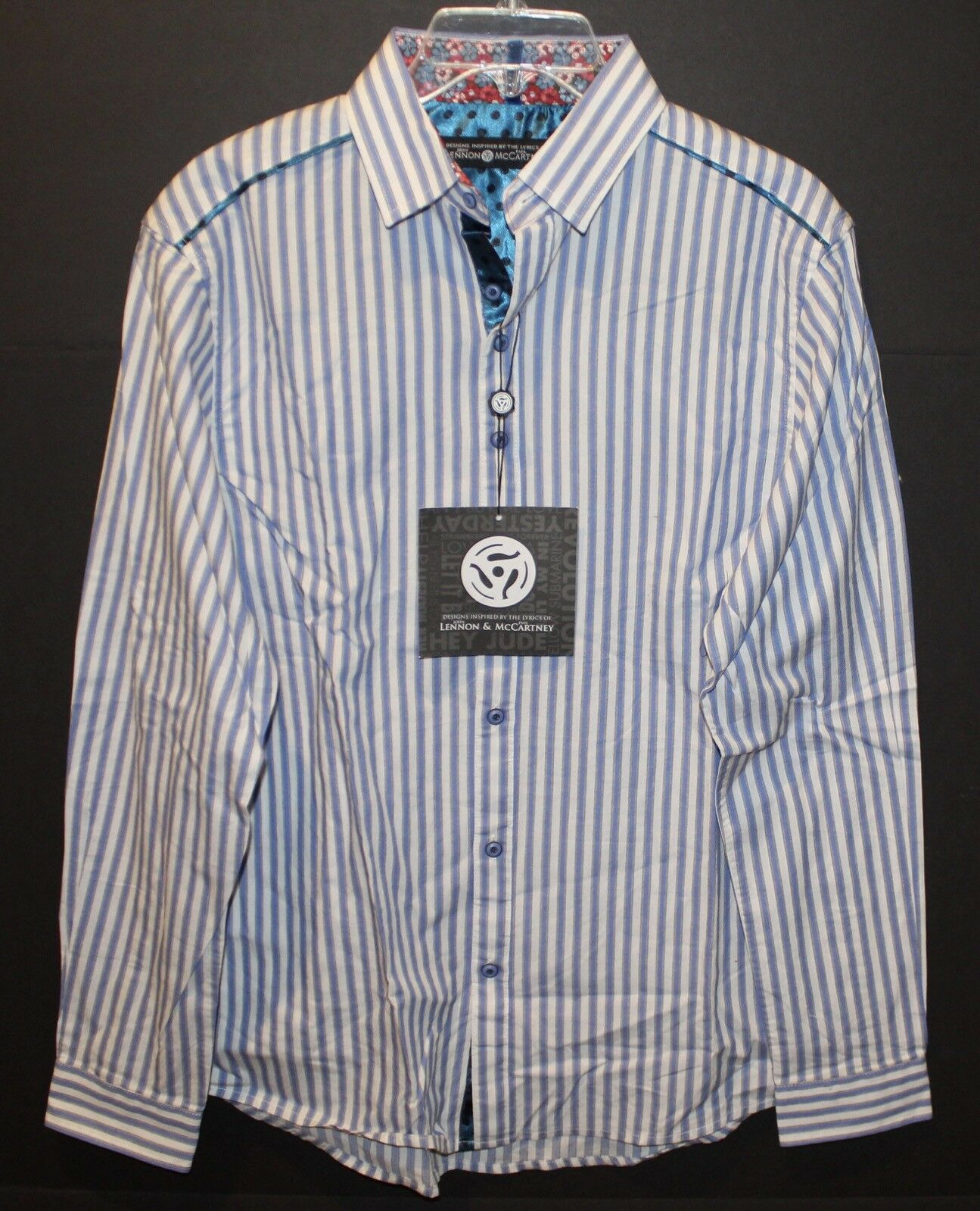 Lennon & McCartney Mens bluee Striped Cotton Button-Front Shirt NWT  Size S