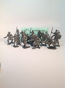 Recast-Marx-60mm-Pirates-16-Pirates-In-7-Poses-Cast-In-Pewter-Colored-Plastic