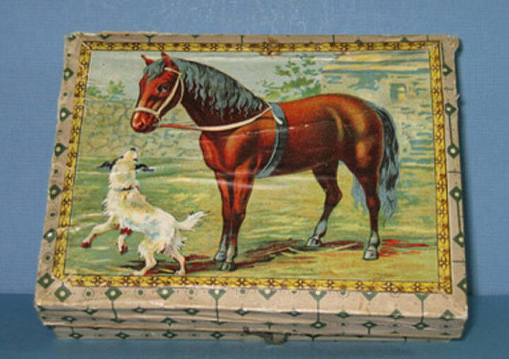 OLD CHROMO TOY BLOCKS IN ORIG BOX, BEAUTIFUL ANIMALS & 100+ YEARS OLD  ON SALE