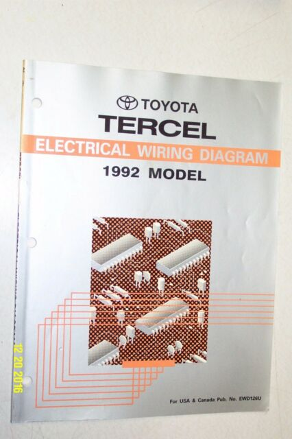 1992 Toyota Tercel Electrical Wiring Diagram Manual Oem