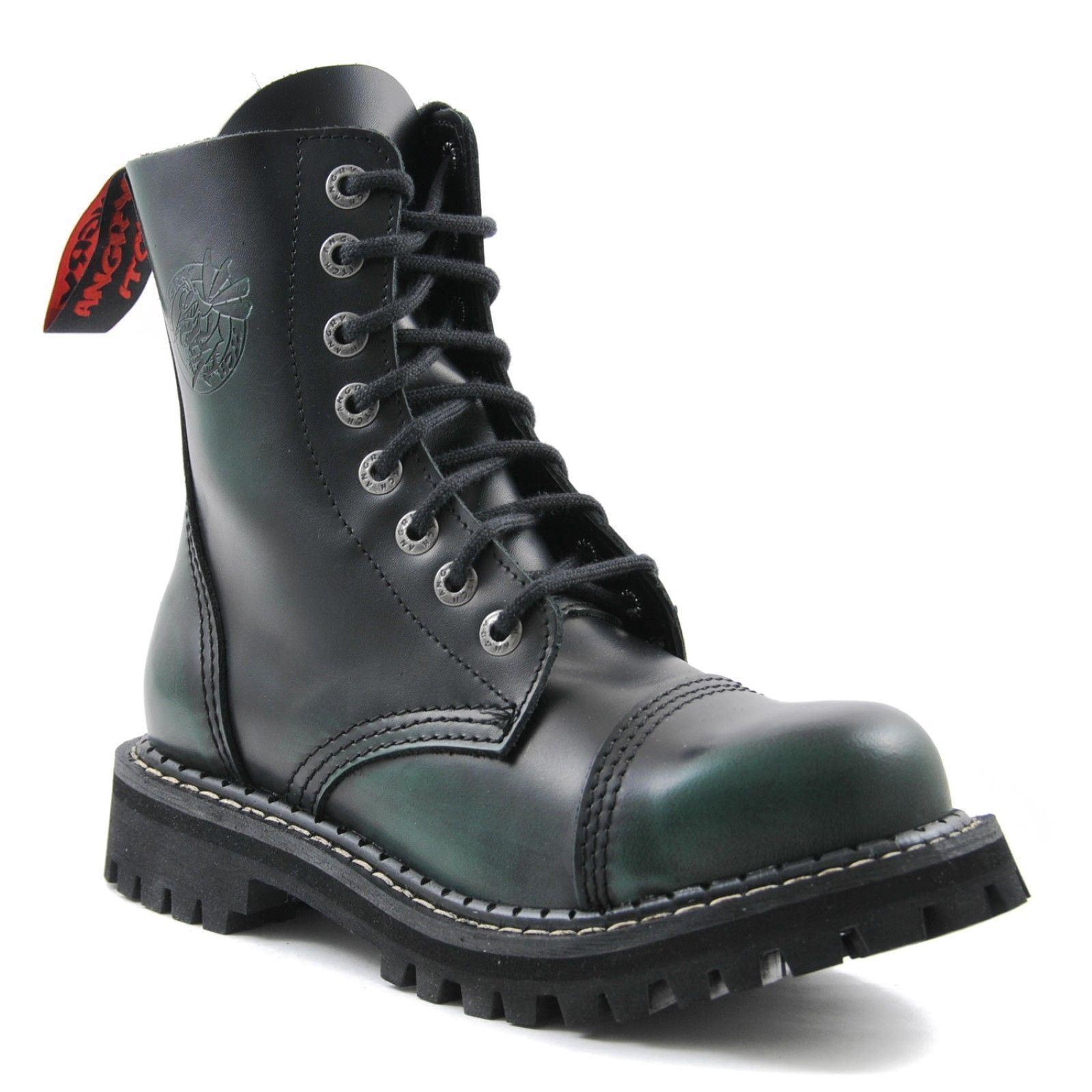 Angry Itch 8 agujero Punk verde frojoar apagado Cuero Combate botas Ranger Lado Puntera De Acero