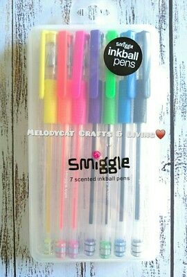SMIGGLE SCENTED NEON GEL PEN SET 7//PK FOR FUN CREATIVE MESSAGES//GRAPHICS