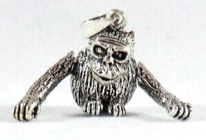 Affe-Monkey-Anhaenger-Kopf-Arme-beweglich-925-Sterling-Silber-Sternzeichen-Neu