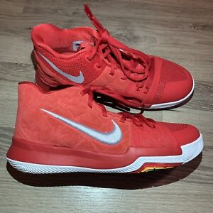 541c1d4e579 Nike KYRIE 3 GS Basketball Shoes University Red White Suede 859466 ...