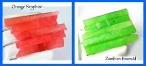 Natural 10 Pcs Orange Sapphire & Zambian Emerald Gems Slice Rough 600 Ct+ Lot