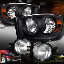 NEW 2006-2008 Dodge Ram 1500 2500 3500 Black Headlights + FULL Fog Lights Kit