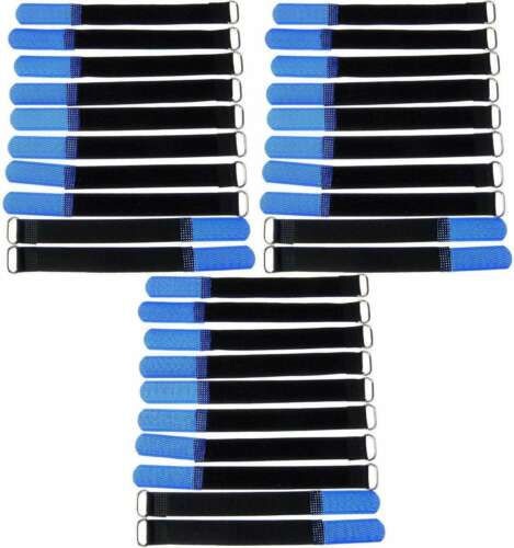 30 x Klettband Kabelbinder 16 cm x 16 mm blau Klettbänder Kabelklett Metallöse