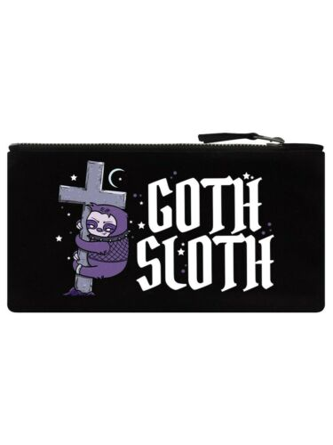 GOTH SLOTH Pencil Case Black purple cute cross pen makeup bag stars moon