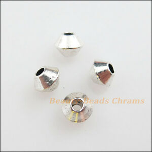 60Pcs Tibetan Silver Tone Tiny Round Tube Spacer Beads Charms 4mm