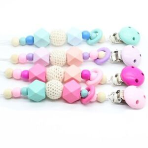 Wooden-Soother-Silicone-Holder-Cute-For-Baby-Chew-Pacifier-Clip-Teething-Dummy
