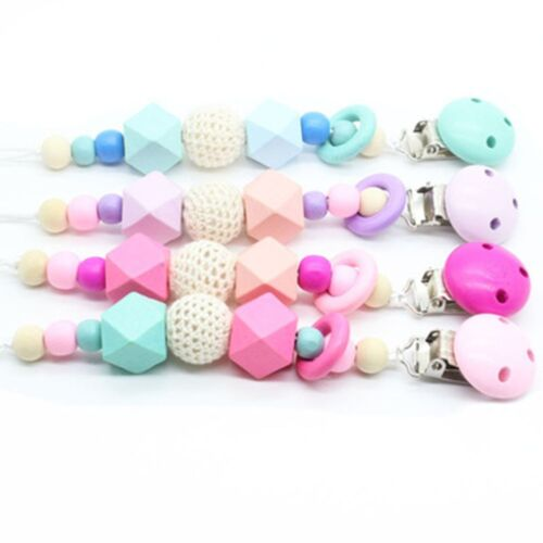 Wooden Soother Silicone Holder Cute For Baby Chew Pacifier Clip Teething aa