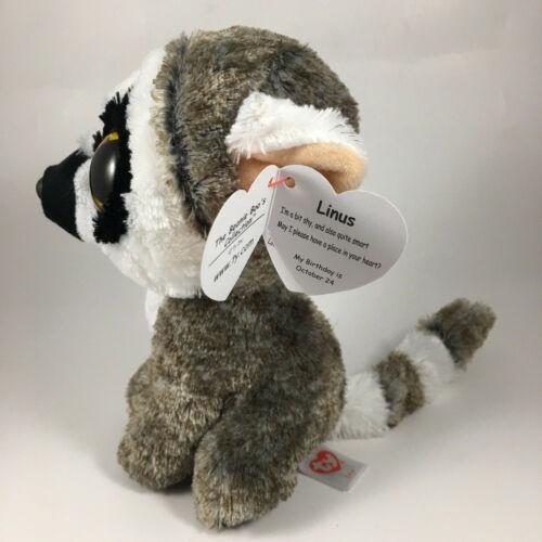 "2020 TY Beanie Boos 6/"" LINUS the Lemur Stuffed Animal Toy Plush MWMTs Heart Tags"