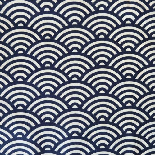 Japanese Cotton Fabric Seigaiha Large Navy 48x55cm Fat Quarter Cut Piece