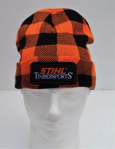 STIHL Lumberjack Timbersports Knit Cuffed Beanie Hat Cap Orange and Black Plaid