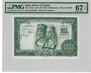 Spain 1000 Pesetas Banknote 1957 Pick# 149a PMG Superb Gem UNC 67 EPQ