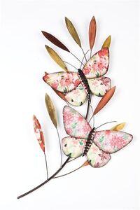 Imágenes de gran tamaño de Arte para Decoración de pared Metal-Mariposas de color en rama  </span>