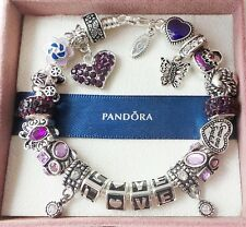 Authentic PANDORA Silver Bracelet with European Charms Beads LOVE! + box