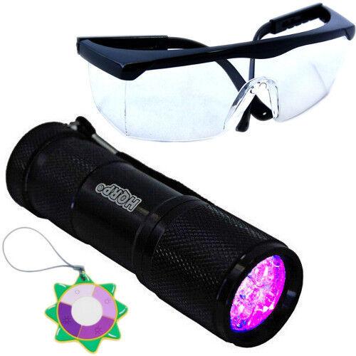 HQRP 365 Presque comme neuf Ultra Violet Blacklight Flashlight torche Light UV Protection Lunettes