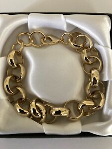 9ct-Heavy-Gold-gf-Belcher-Bracelet-Chain-16mm-x-9-Inch-FREE-Luxury-Gift-Box