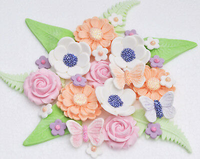 Marvelous Edible Birthday Cake Flowers Toppers Edible Cake Flowers Cake Funny Birthday Cards Online Alyptdamsfinfo