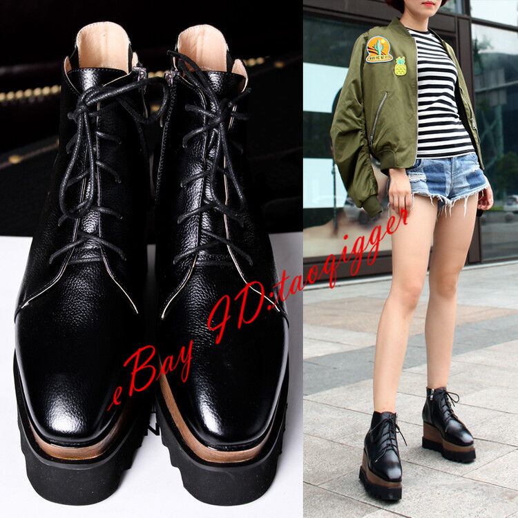 Women's Leather Wedge Hidden Heel Punk Pull On Ankle Boots Lace-up Loafers shoes