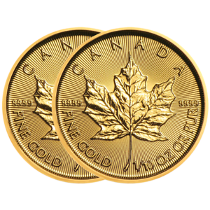 Lot-of-2-2019-5-Gold-Canadian-Maple-Leaf-9999-1-10-oz-Brilliant-Uncirculated