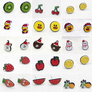 Cute-Sweet-Cartoon-Fruit-Animal-Acrylic-Women-Girl-Ear-Studs-Earrings-Kid-039-s-Gift