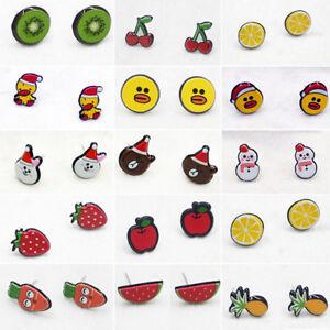 Cute-Sweet-Cartoon-Fruit-Animal-Acrylic-Women-Girl-Ear-Studs-Earrings-Kid-039-s-Gift