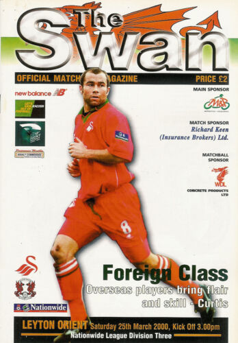 Swansea City v Leyton Orient FOOTBALL PROGRAMME 25 Mar 2000