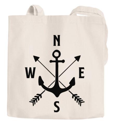 Coole Einkaufstüte Baumwoll-Tasche Jutebeutel Anker Kompass Arrows Moonworks®