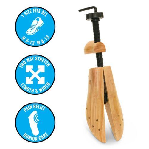 Plixio Pair of Adjustable Wooden Shoe Stretcher 2 Way Expander US Mens Size 9-12