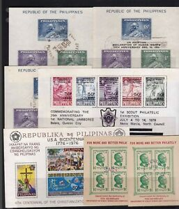 Philippines 1947-1979 selection of 7 different Souvenir sheet all used