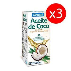 Pack-3-unites-Huile-d-039-NOIX-DE-COCO-60-CAPSULES-DIETASOL-YNSADIET